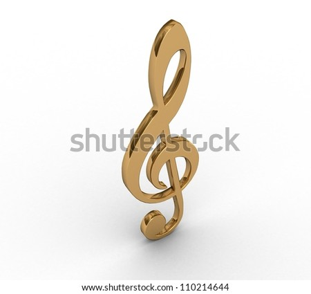 3d gold  treble clef - stock photo