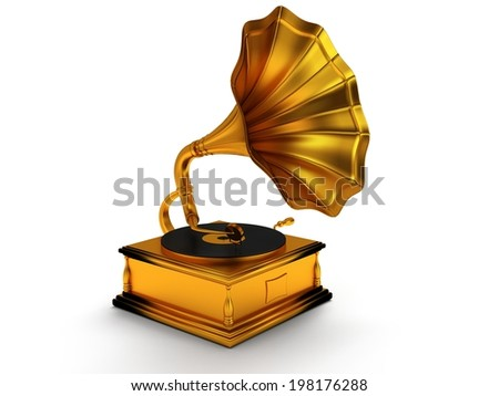 3d gold vintage gramophone isolated on white background. Retro music concept
