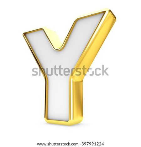 3d gold - white letter Y isolated white background.