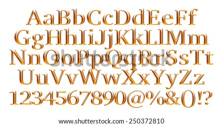 3D golden alphabets with digit numbers on isolated white background  - stock photo