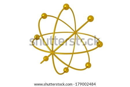 3d golden atom on white background. nuclear  - stock photo