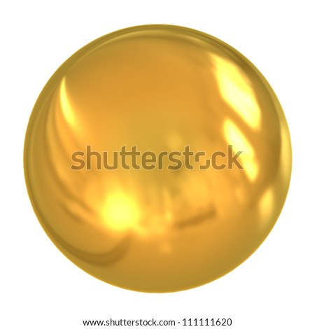 3d golden ball isolated on white background - stock photo