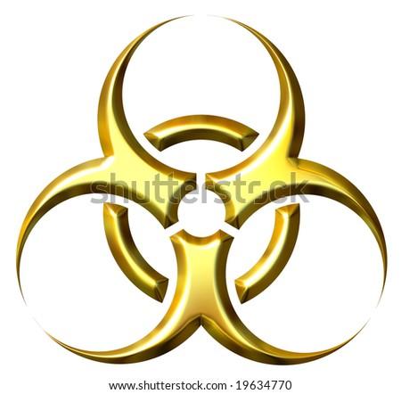 3d golden biohazard symbol - stock photo
