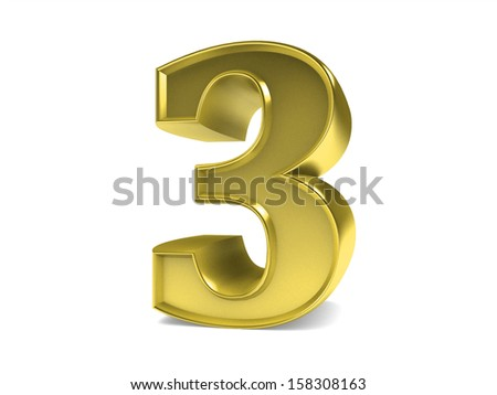 3D golden brilliant collection of numbers from 0 to 10