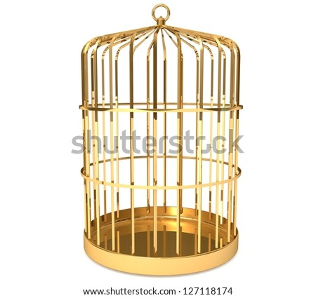 3d Golden cage - stock photo