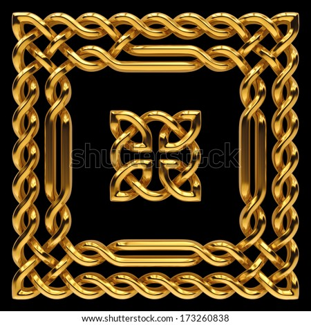 3d golden Celtic frame and pattern, keltic ornamental design elements isolated on black - stock photo