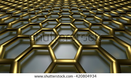 3D golden color abstract cellular lattice background - stock photo