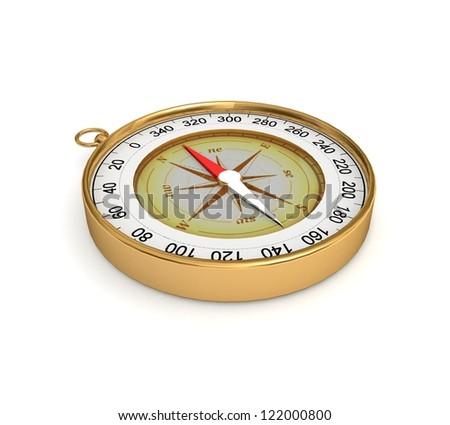 3D Golden compass - stock photo