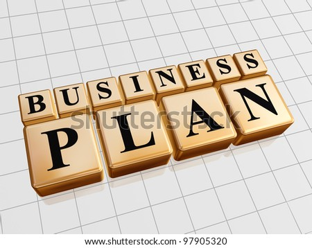 3d golden cubes with black letters with text - business plan - stock photo