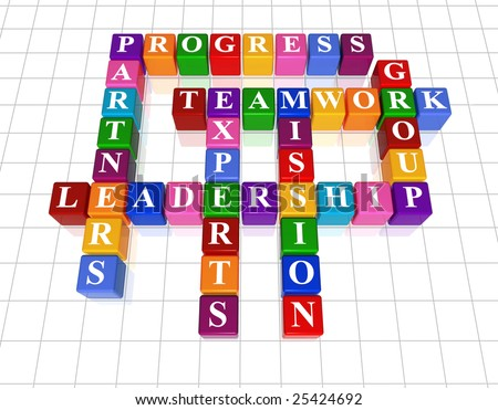 3d golden cubes with text - leadership, partners, teamwork, group, experts, progress, mission - stock photo