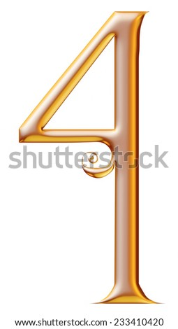 3d golden digit number 4 for Christmas isolated white background