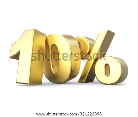 3D golden discount collection - 10% - stock photo