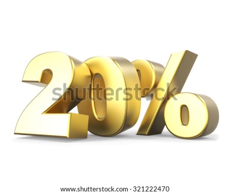 3D golden discount collection - 20% - stock photo