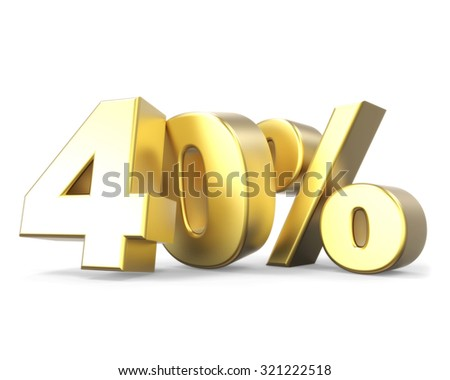 3D golden discount collection - 40% - stock photo