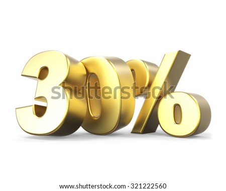 3D golden discount collection - 30% - stock photo