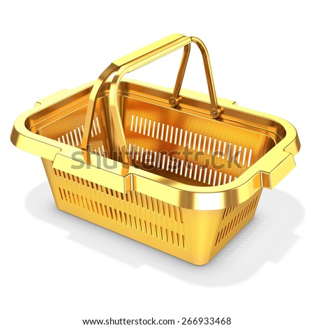 3d golden empty shopping basket on white background - stock photo
