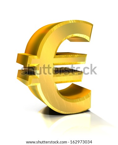 3d golden euro symbol    - stock photo