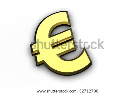 3d golden Euro symbol isolated on a white background