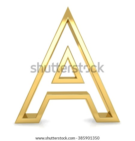 3d golden frame letter A rendering with gold metal empty line alphabet  - stock photo