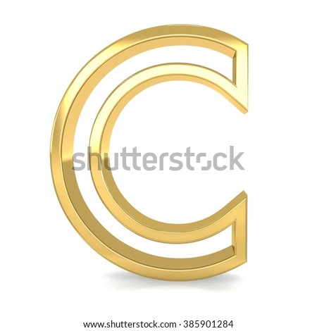 3d golden frame letter C rendering with gold metal empty line alphabet  - stock photo