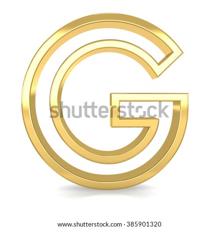 3d golden frame letter G rendering with gold metal empty line alphabet  - stock photo