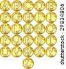 3d golden framed alphabet - stock photo
