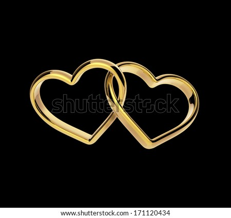 3d golden hearts connected together, engagement linked rings isolated on black - stock photo
