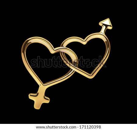 3d golden hearts connected together, linked gender symbols isolated on black - stock photo