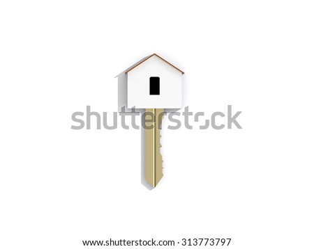 3D golden home key on white background