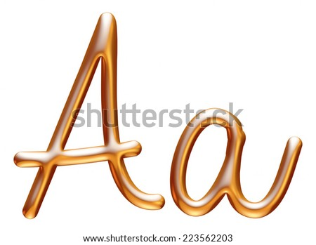 3d golden letter A isolated white background