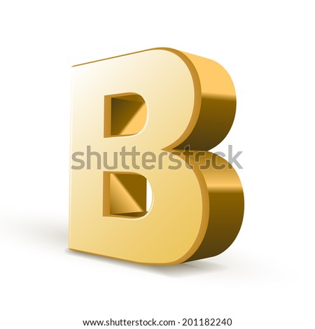 3d golden letter B isolated white background - stock photo