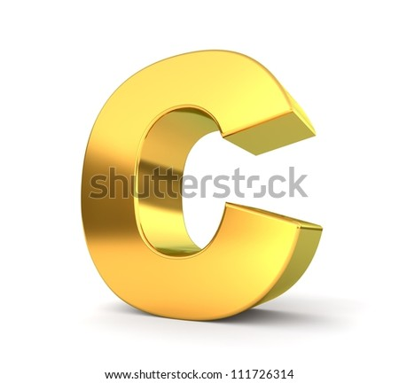 3d golden letter collection - C - stock photo