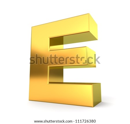 3d golden letter collection - E - stock photo