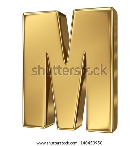 3d golden letter collection - M - stock photo