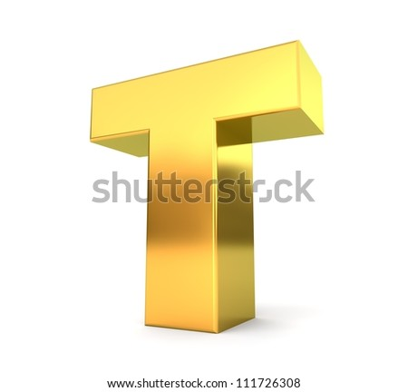 3d golden letter collection - T - stock photo