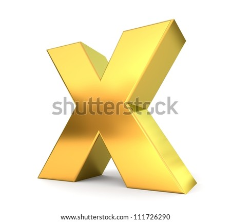3d golden letter collection - X - stock photo