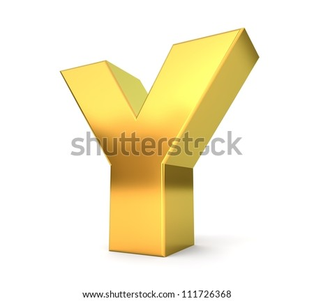 3d golden letter collection - Y - stock photo