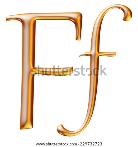 3d golden letter F isolated white background
