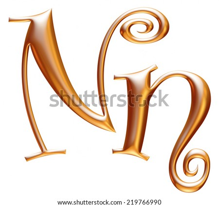 3d golden letter N isolated white background  - stock photo