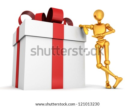 3d golden man with big gift box on white background - stock photo