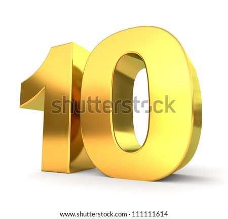3d golden number collection - 10 - stock photo