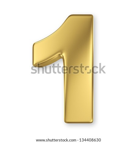 3d golden number collection - 1 - stock photo
