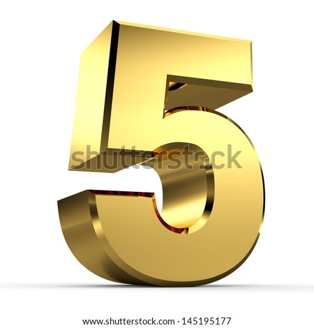 3D Golden Number Collection 5