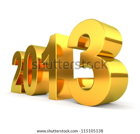 3d golden 2013 number - new year concept - stock photo