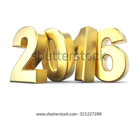 3D golden number 2016 - new year concept - stock photo