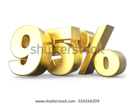 3D golden percentage discount collection - version 95 % off - stock photo