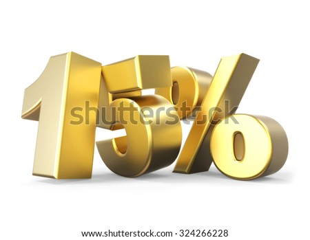 3D golden percentage discount collection - version 15 % off - stock photo
