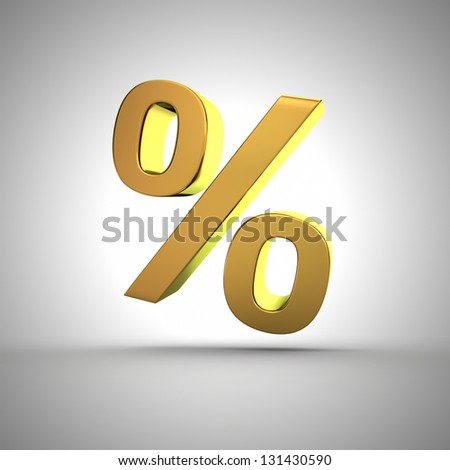 3d golden percentage symbol closeup