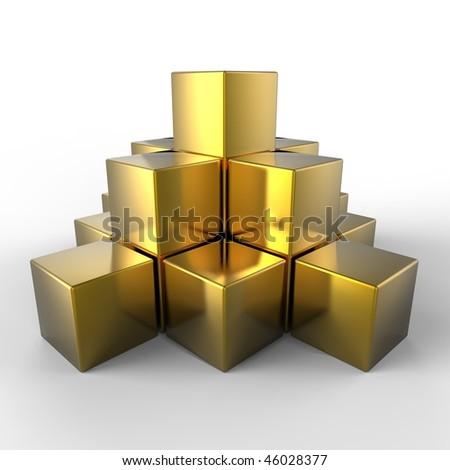 3d golden pyramid - stock photo