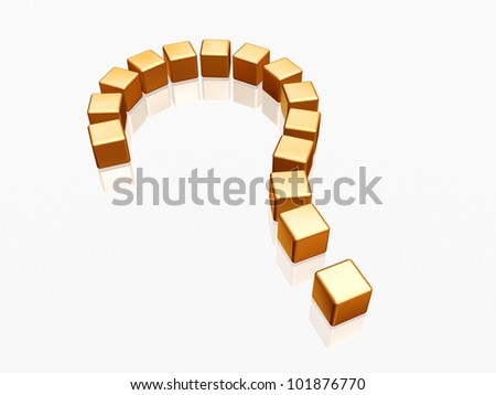 3d golden question sign over white and reflection - stock photo